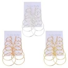 6Pairs/set Vintage Dangle Ring Big Circle Hoop Earrings Women Steampunk Ear Clip 3XUA