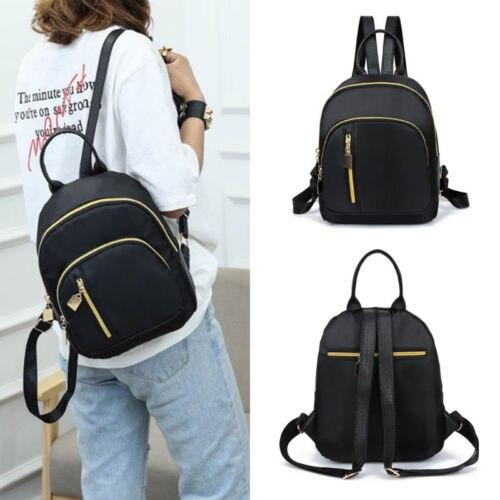 2020  Women Girls Black Nylon Mini Backpack Travel School Backpack Shoulder Bags Zipper Backpacks