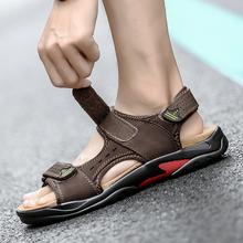 CcharmiX oryginalne skórzane buty męskie Tracking Summmer Walking sandały męskie 2020 nowe duże rozmiary Outdoor Sea buty na plażę męskie sandały tanie tanio Prawdziwej skóry Skóra bydlęca Podstawowe Cotton Fabric Zwięzłe RUBBER Hook loop Niska (1 cm-3 cm) Pasuje prawda na wymiar weź swój normalny rozmiar