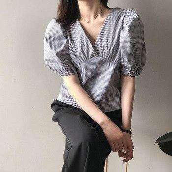 Summer Short Sleeve Blouse Japan Korean Chic Girls Shirt Female Short Brit Graphics V-neck Puff Sleeve Plaid Shirt Women