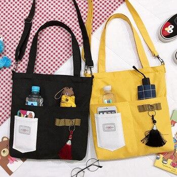 PURFAY Simple Women Package with pen pocket Canvas Bag Handbags Japanese Literary Shoulder Casual Shopping Tote Girl Handbag