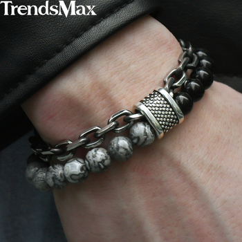 Trendsmax Natural Map Stone Men's Beaded Bracelet