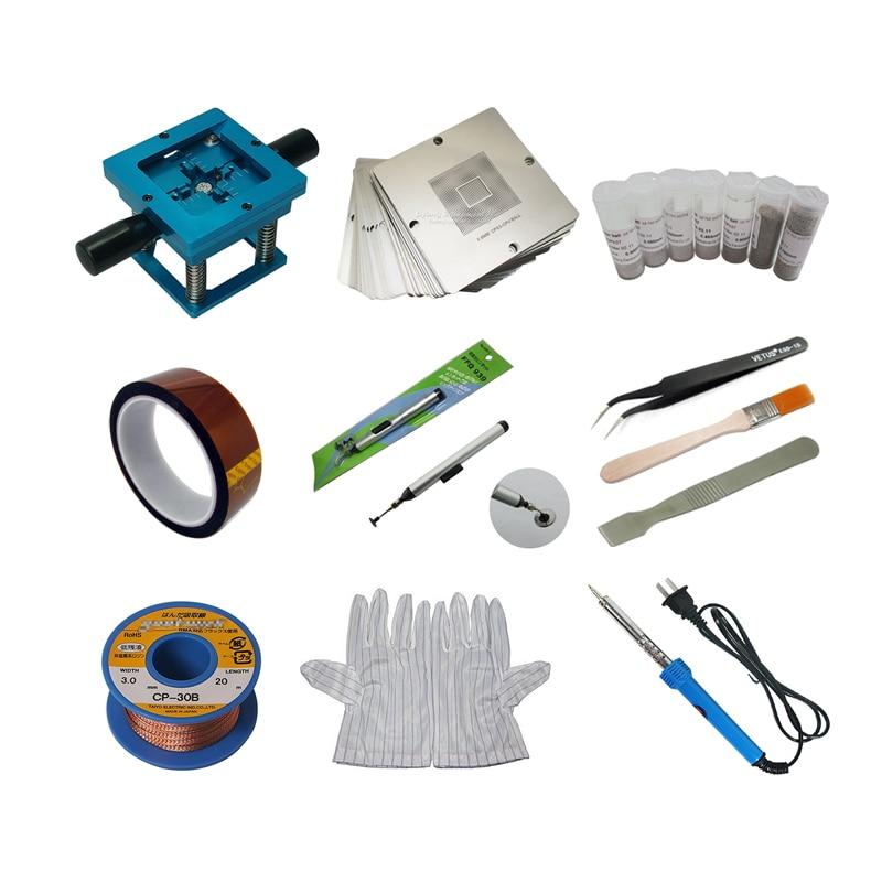90*90mm BGA Reballing Station 90mm Universal Stencils Repair Kit Soldering Iron Solder Balls Tweezers Brush Openings Tools