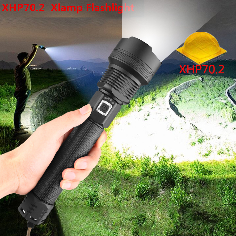 Ultra Bright XLamp XHP70.2 Most Powerful LED Flashlight USB Zoom Torch XHP70 XHP50 18650 26650 Rechargeable Battery Flashlight