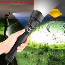 בהיר במיוחד XLamp XHP70.2 החזק ביותר LED פנס USB זום לפיד XHP70 XHP50 18650 26650 סוללה נטענת פנס