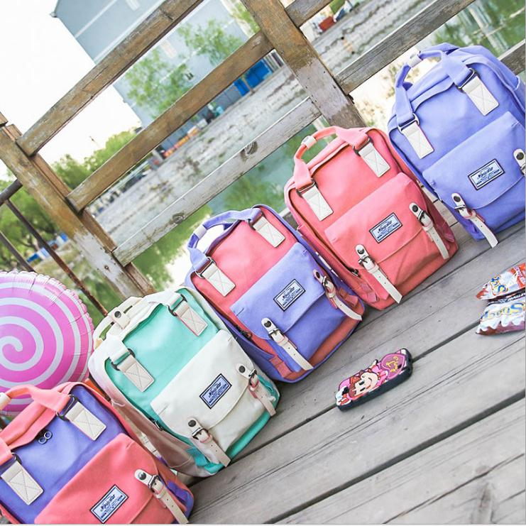 2019 CANIS Women's Canvas Backpack Waterproof Zipper Backpack Female College Wind Student Bag Donut Colors