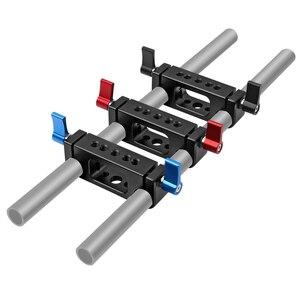 Image 1 - 15mm Rig מוט כפול חורים 1/4 3/8 חוט טלה עדשת מחזיק תמיכת Rail צילום מערכת עבור DLSR מצלמה כלוב חלקי
