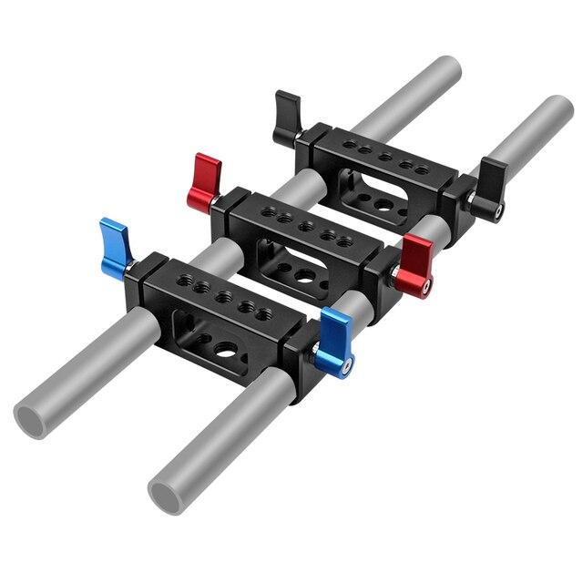 15mm Rig מוט כפול חורים 1/4 3/8 חוט טלה עדשת מחזיק תמיכת Rail צילום מערכת עבור DLSR מצלמה כלוב חלקי