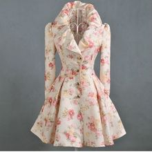 Women Trench Windbreaker Coat Print New Fashion Women's Printing Rose Print Wind