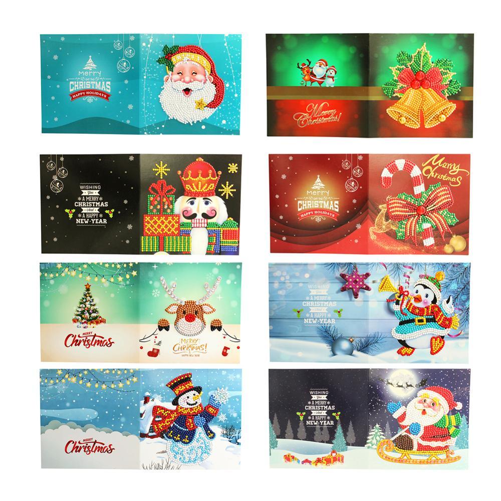 5D DIY Diamond Painting Cards Christmas Greeting Cards Santa Claus Xmas Postcards Craft Gift For Kids Christmas Decoration