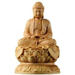 Drewniane figurki buddy siakjamuni z litego drewna statua rzemiosło samochód mały budda rzeźba Zen Home Decoration dekoracje ścienne|Posągi i rzeźby|   -