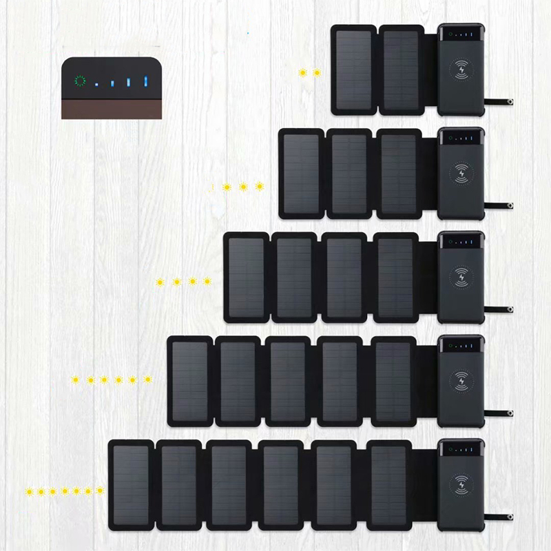 12000mAh Outdoor Foldable Detachable Waterproof Solar Panel Charger Portable Qi Wireless Charger LED Solar Power Bank for Phones
