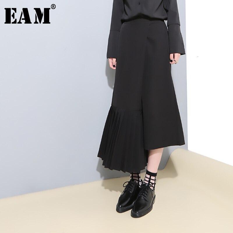 [EAM] 2019 New Autumn Winter High Waist Loose Black Irregular Pleated Stitch Wide Leg Pants Women Trousers Fashion Tide JO261