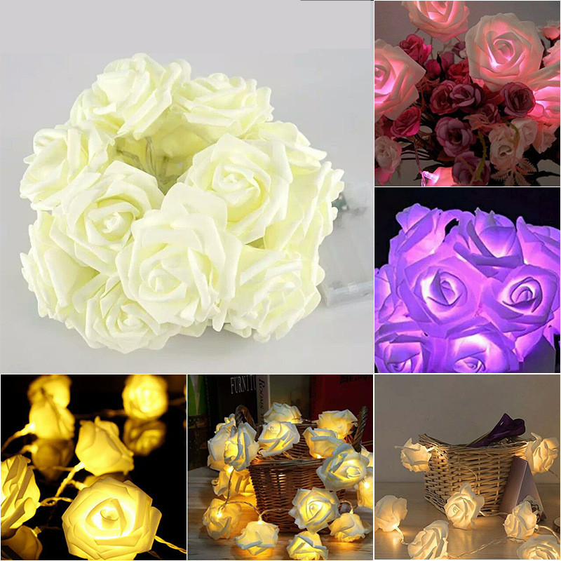 1.5M 10 Led Garland Fairy Lights AA Battery LED Rose Christmas Lights Holiday String Lights New Year Christmas Decoration Flower