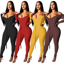 2019 Solid Off Shoulder Ribbed Jumpsuit with Belt Women Sexy V Neck Long Sleeve Romper Night Club Overalls Knitting Jumper