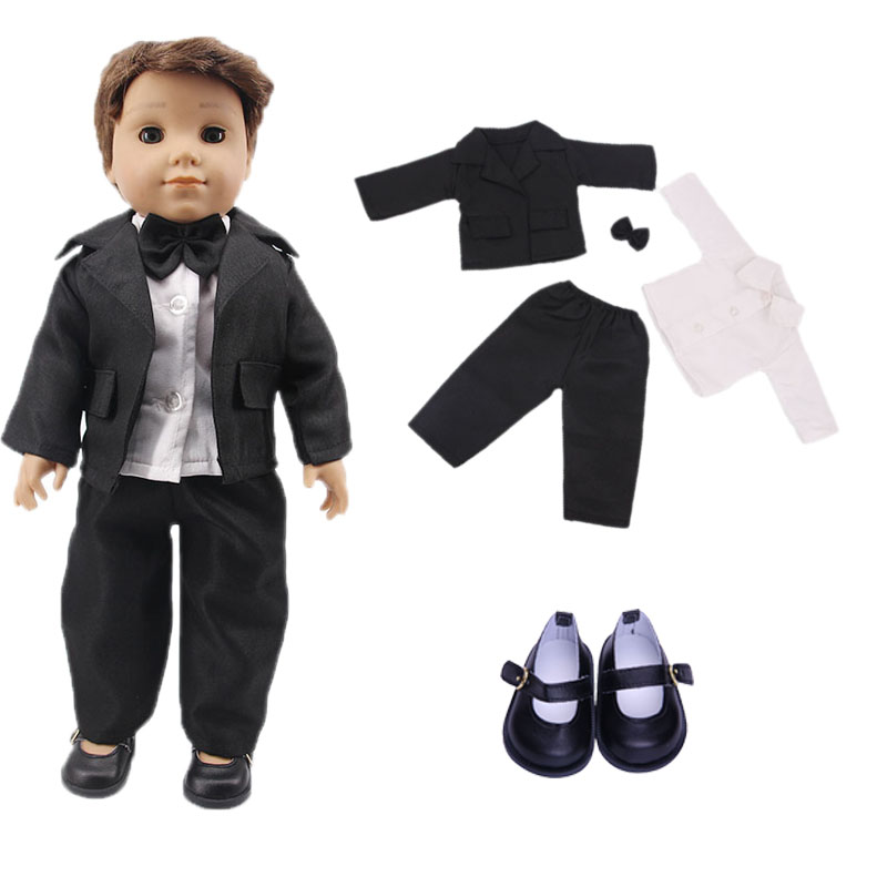 New <font><b>doll</b></font> shirt + jacket + bow tie = 1 <font><b>set</b></font> of <font><b>doll</b></font> <font><b>clothes</b></font> match leather shoes for Logan <font><b>doll</b></font> generation children's holiday gift image