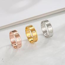 Skyrim Women Men Hollow Cross Ring Supernatural Stainless Steel Gold Color Engagement Couple Rings Jewelry Anniversary Gifts