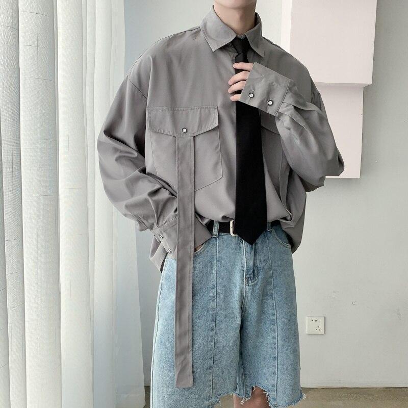 Men Contains Tie Long Sleeve Casual Shirt Male Korea Japan Streetwear Hip Hop Loose Dress Shirts