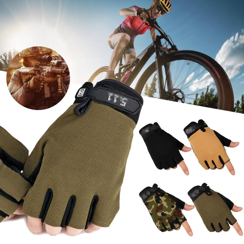 Mens Tactical Cycling Half Finger Gloves Anti-Slip Touch Screen Hunting Camping Camouflage Outdoor Sport Fishing Equipment image