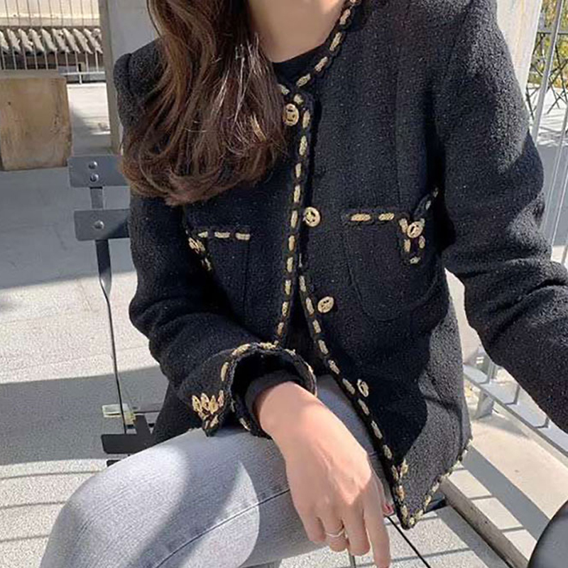 Spring Autumn Black Tweed Blazers And Jackets Women Metal Button Solid O-Neck Suits Coat Female Tops Office Lady Blazer Feminino