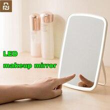 Youpin Espejo LED sensible al tacto para maquillaje, espejo LED sensible al tacto, luz natural de relleno, ángulo ajustable, luces de brillo, batería larga