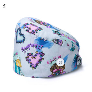 New Breathable unisex cartoon printing tooth Scrub cap beauty salon Pet work Laboratory cap Scrub hat Surgical Cap Doctor Hat