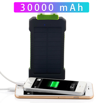 Solar Power Bank 30000mAh Dual USB Waterproof Solar Charger Power Bank Portable External Battery Pack Powerbank with LED Light 3