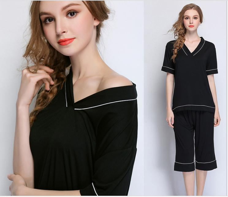 Free Shipping.black Plus Size Womens Sexy Short Pajamas Set.summer Soft Thin Modal Fashion Shorty Femme Hot Sales,home Sets