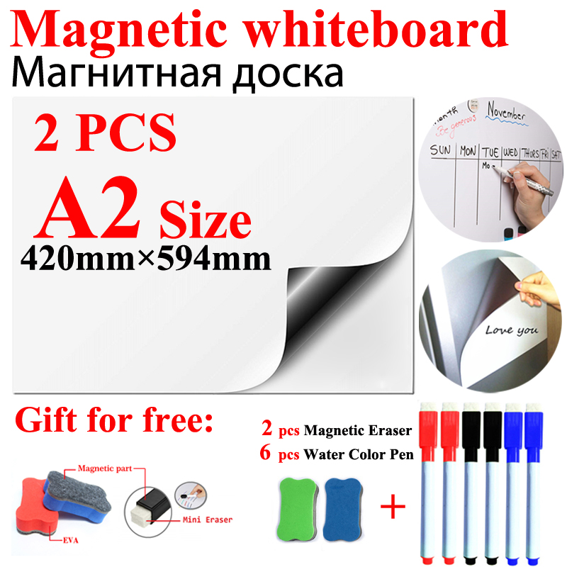 2Pcs A2 Size Magnetic School WhiteBoard Fridge Magnets Stickers Whiteboard For Kids Home Office Dry-erase Board White Boards