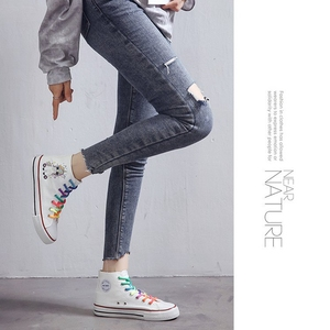 Image 5 - SWYIVY Women Vulcanized Shoes Cartoon Rainbow Lace Up Canvas Shoes Women Platform Flat High Top White Ladies Casual Sneakers