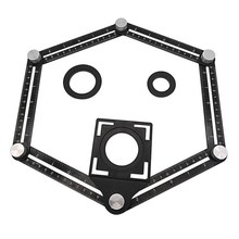 1 pçs telha buraco localizador modelo de metal dobrável vidro de medição ângulo fixo transferidor templat angular localizador régua