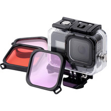 45M Waterproof Case Filter Diving Swimming Protective Shell Purple Pink Red Len Filter for GoPro Hero 8 Black Action Camera(China)