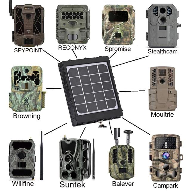 WG8000 Hunting Trail Cameras Solar Panel Charger 6v/9v/12v 8000mAh for feeder kit forest Game Cameras 1.7mm/DC2.1mm/USB adapter 2