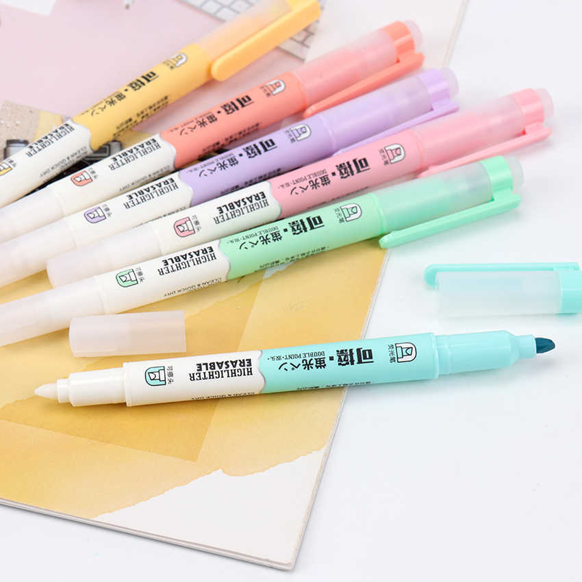 6PCS/Set Candy Colors Double Head Erasable Highlighter Children'S Graffiti Marking Tool Pen Office School Writing Supplies