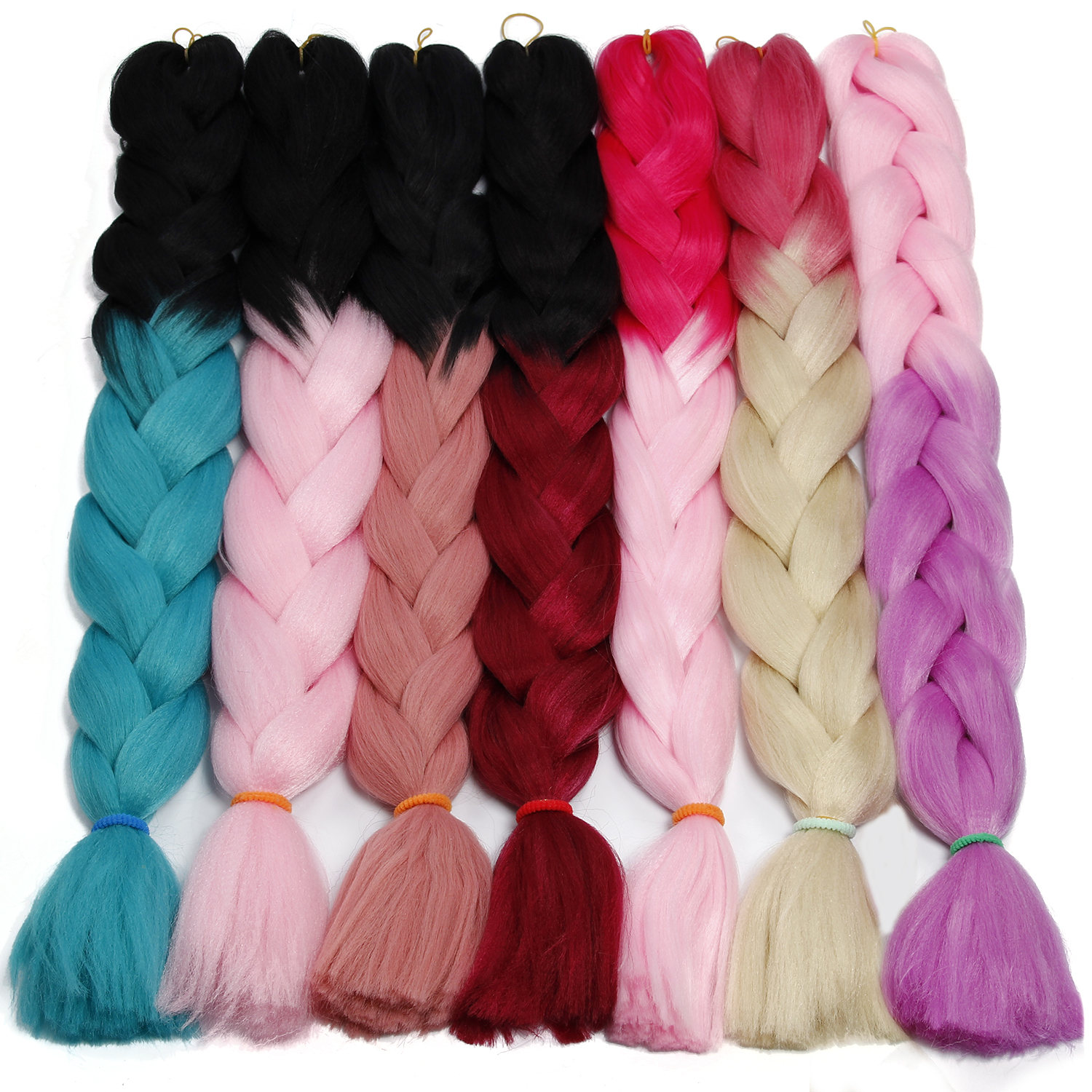 Synthetic Hair Extension 82'' 165g Crochet Hair Black Pink Purple Long Jumbo Braid Crochet Xpression Braiding Hair Kanekalon
