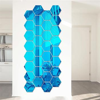 7pcs/lot 3D Hexagon Acrylic Mirror Wall Stickers For Living Room Bedroom House Decoration DIY Art Vinyl Wall Decor Sticker Decal 11