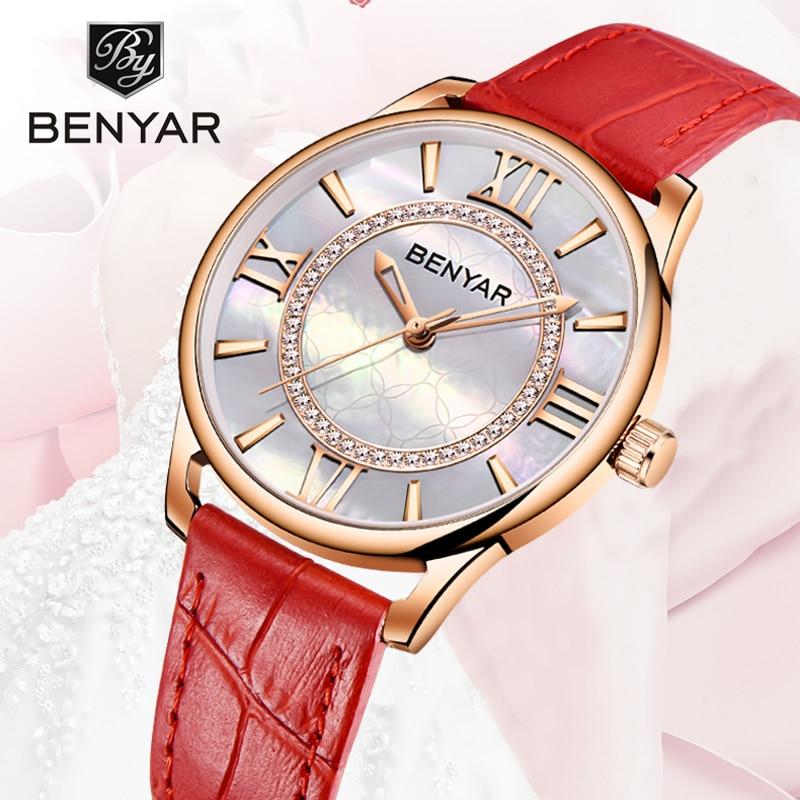 BENYAR Women Watch Creative Wristwatch Lady Watches Top Brand Luxury Quartz Gold Fashion Leather Clock Montres Femme Reloj Mujer