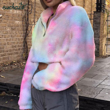 SUCHCUTE Rainbow Wool Jackets For Women With Zipper Warm Modis Longslive Casual Winter Coats 2019 Korean Style Festival