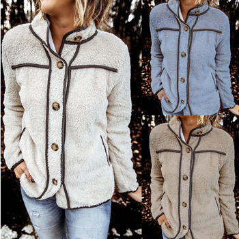 Fashion Women Button Down Fleece Cardigan, Long Sleeve Stand Collar Coat Outerwear with Pockets Autumn/Winter outerwear clothes