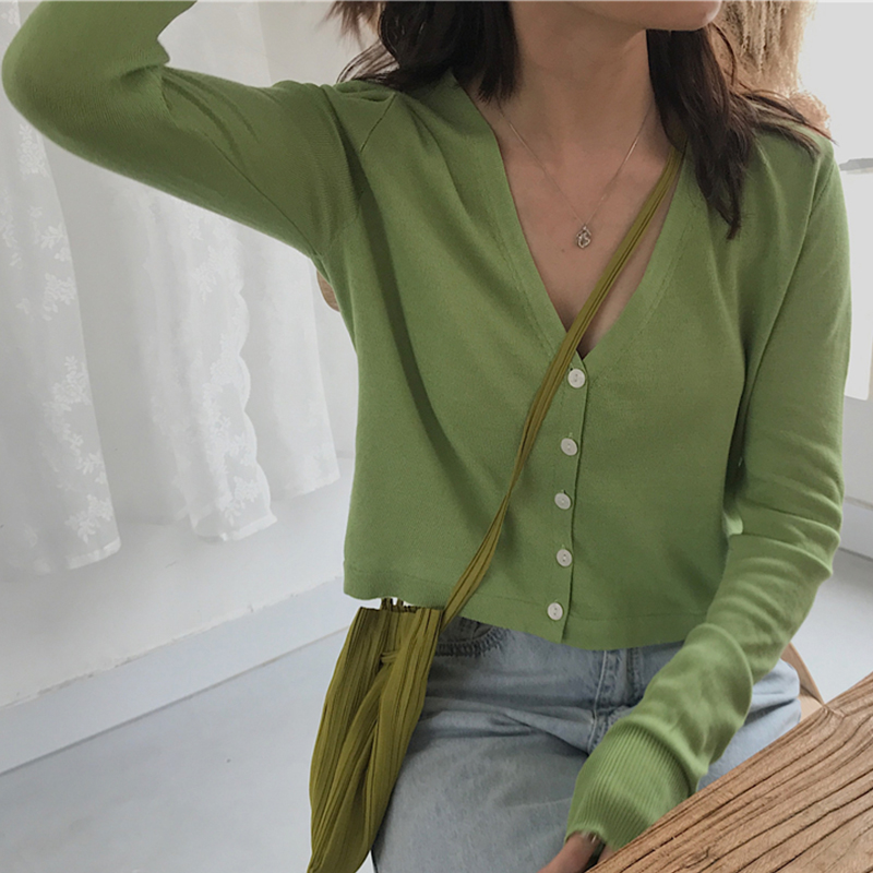 2020 Women Autumn Casual Avocado Green Knit Cardigan Cropped Knit Top Soft Sweater Vintage Knit Cardigan