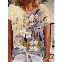 2021 New Summer Age Reduction Hedging Loose Print Urban Casual Round Neck Large Size Short-Sleeved Women's T-Shirt