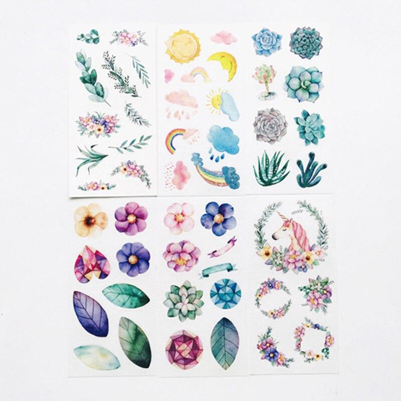 6 Sheets Colorful Unicorn & Plants Paper Stickers DIY Decorative Sealing Paste Stick Label
