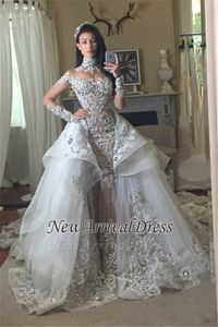 Image 3 - Hot Sale Beaded Appliques Wedding Dress Long Sleeves Glamorous High Neck Mermaid Wedding Gown with Detachable Tulle Train