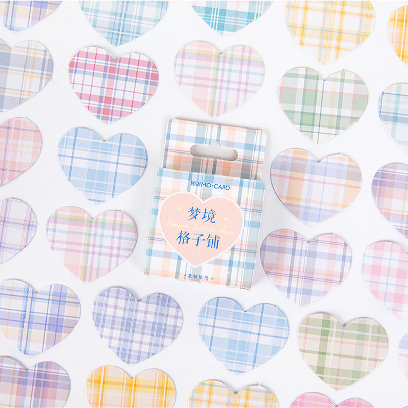 46 Pcs /Box Heart Design Colorful Dream Grids DIY Adhensive Mini Diary Stickers Decorative Sticker