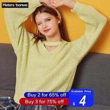 Metersbonwe, вязаный свитер, женские пуловеры с v-образным вырезом, Осень-зима, женский разноцветный свитер в Корейском стиле, свободный крой