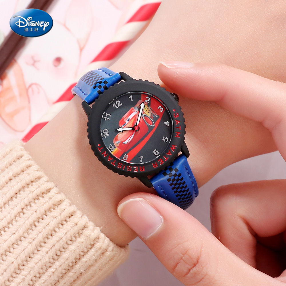 Disney Children's Quartz Watch Boy Watch And Gift Cute Trend Personality McQueen Kids Watch Water Resistant Alloy Leather