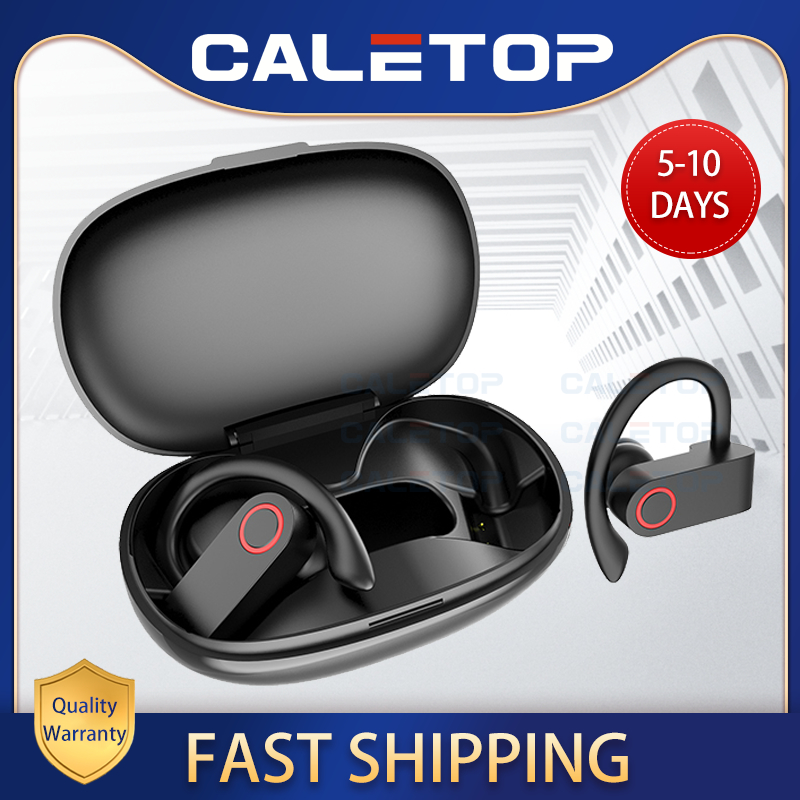 CALETOP Sports Wireless Earphone Bluetooth Headphone Ear Hook with Microphone Waterproof Running Noise Cancelling Stereo Earbuds