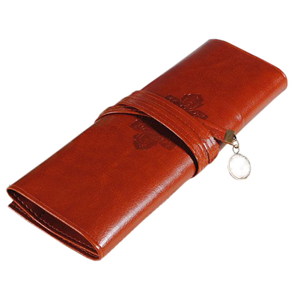 VOOYE Elegant Unisex Retro PU Leather Pencil Coffee Color Pouch Brown For School Office