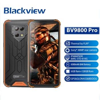 Перейти на Алиэкспресс и купить Тепловизор мобильный телефон 6 ГБ + 128 Гб Смартфон Helio P70 Android 9,0 водонепроницаемый 6580 мАч глобальная версия Blackview BV9800 Pro