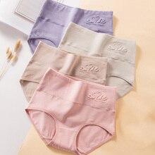 LANGSHA 4Pcs/lot High Waist  Panties Women Breathable Cotton Underwear Cute Print Seamless Briefs Sexy Girls Slimming Underpants